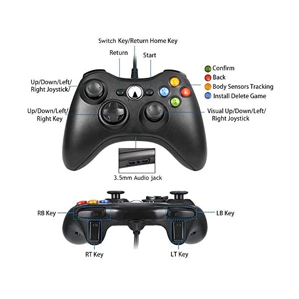 White Xbox 360 Controller,TGJOR Wired USB Game Controller Gamepad Joystick with Shoulders Buttons for Microsoft Xbox /& Slim 360 PC Windows PC