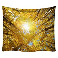 ZebraSmile Soft Plush High Definition Forest Tapestry Thick and Heavy Fabric Tree Wall Hanging Printing Tapestries Cloth for Bedroom Dorm Living Room Home Backdrop Decor with Clips, Gold 59 by 51 in