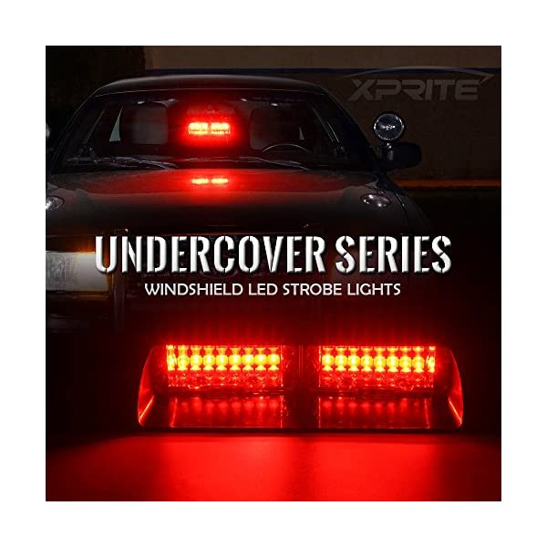 XT AUTO 8 LED Warning Caution Car Van Truck Emergency Strobe Light Lamp For Interior Roof Dash Windshield Red Blue