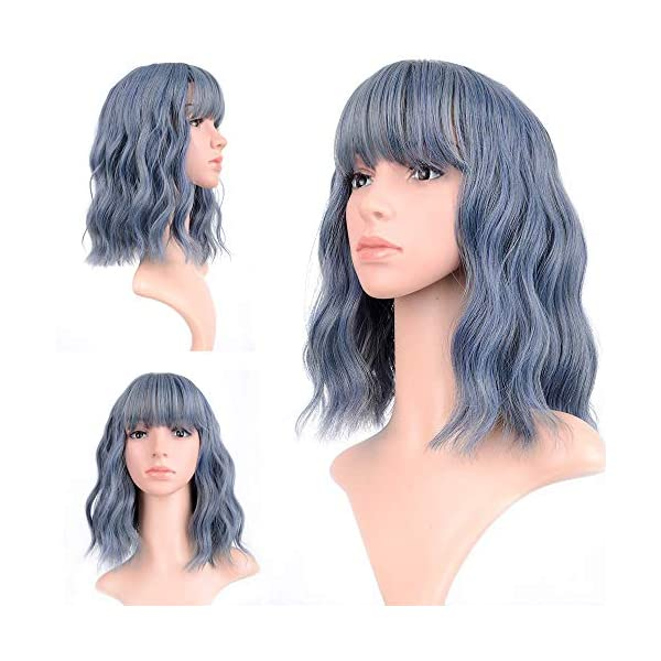 ENTRANCED STYLES Short Straight Black Bob Wigs with Flat Bangs Synthetic Colorful Cosplay Daily Party Wig for Women
