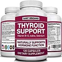 Thyroid Support Supplement with Iodine  120 Capsules, Helps Optimal Weight Loss & Cardiovascular Health, Boosts Energy & Metabolism   Mentally Sharp & Physically Strong   14 Natural Vitamins