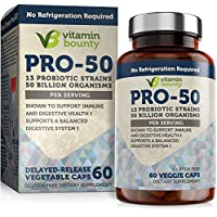 Vitamin Bounty Pro 50 Probiotic with Prebiotics - 13 Strains, 50 Billion CFU, for Gut and Digestive Health with Delayed Release Embocaps™ & Fermented Greens