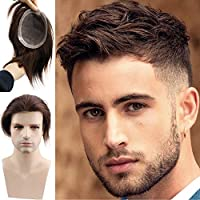 Rossy&Nancy Fine Mono Lace European Human Hair Mens Toupee Hairpiece Poly Skin Around Hair System Durable NPU Monofilament Wig Hair Replacement for Men 6x7.5inch (Dark Brown Color)