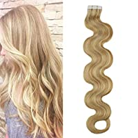 Moresoo 16 Inch Skin Weft Hair Extensions Tape Body Wave #14 Honey Blonde Mixed with #613 Tape in Human Hair Extensions 50G 20PCS PU Hair Extensions