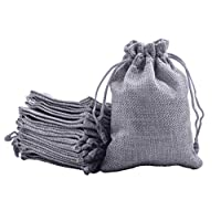 Sansam 50pcs 7.0x9.0cm/2.8''x3.6'' Grey Color Small Drawstring and Lining Hemp/Hessian Bags, Jewelry Pouches, Wedding Favors, Jewelry Packing, Gift Bags