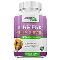 Regale Health Turmeric Curcumin Supplement~1950mg with Black Pepper Extract~High Potency 95% Curcuminoids~Joint Pain Relief Anti-inflammatory Antioxidant Brain Health~90 Capsules~Non GMO