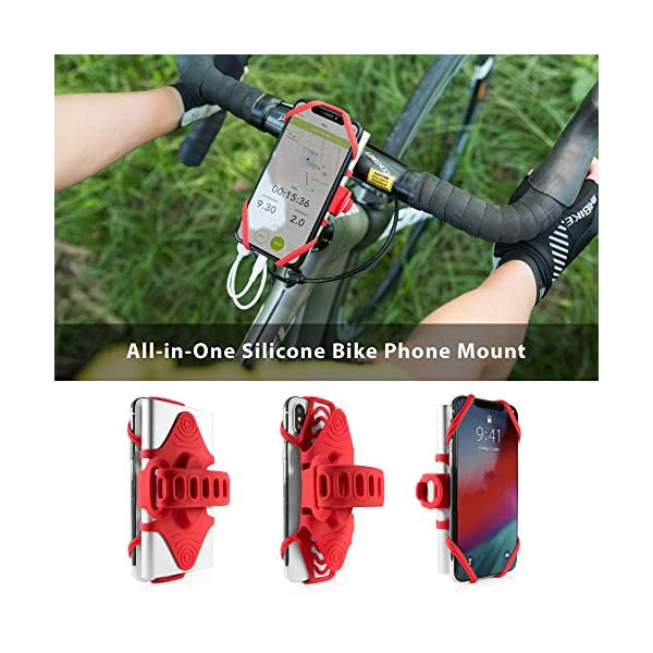 Red Bike Tie Pro 2 Series /… Upgraded Ver. Universal Bike Phone Mount Bicycle Stem Handlebar Cell Phone Holder for iPhone Xs Max XR X 8 7 Plus Samsung Galaxy S10 S9 S8 Note 9 Pixel 3 Smartphone