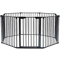 GMNEW Baby Safety Gate 5-in-1 Fireplace Fence Wide Barrier for Pet & Child w/Walk-Through Door in Two Directions Add/Decrease Panels Directly Wall Mount Metal Gate Door 150 Inch (8 Panels)