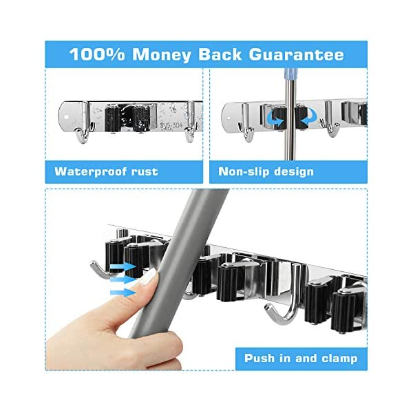 Cleaning Tools Stainless Steel Storage Organizer for Kitchen Bathroom Closet Office Garden Broom Holder Wall Mount with 3 Racks and 4 Hooks Mop and Broom Holder 2 PCS