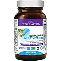 New Chapter Calming Supplement - Perfect Calm Multivitamin for Stress + Mood Support with B Vitamins + Holy Basil + Lemon Balm + Organic Non-GMO Ingredients - 72 ct