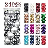 Jusdreen 24pcs Christmas Balls Ornaments for Xmas Tree Shatterproof Christmas Tree Hanging Balls Decoration for Holiday Party Baubles Set with Hang Rope 2.36