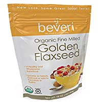 Beveri Nutrition—Organic Golden Milled Flax Seed—Fine Milled Seed—A Natural, Essential High-Protein + Fiber Superfood—1 Pound Bag (Packaging May Vary)