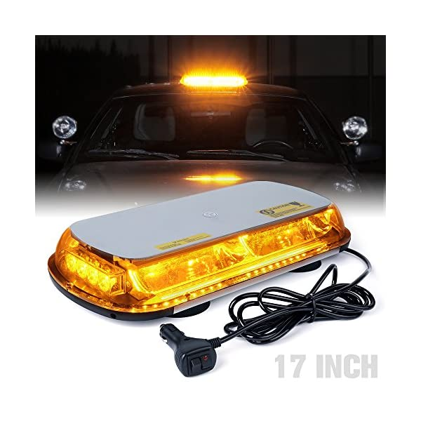 LEDHOLYT 40W 17in//44cm Short Row Warning Caution Emergency Light Strobe Working Strip Flashing Car Roof Magnetic Lamp Red+Blue Light Color DC 12-24V
