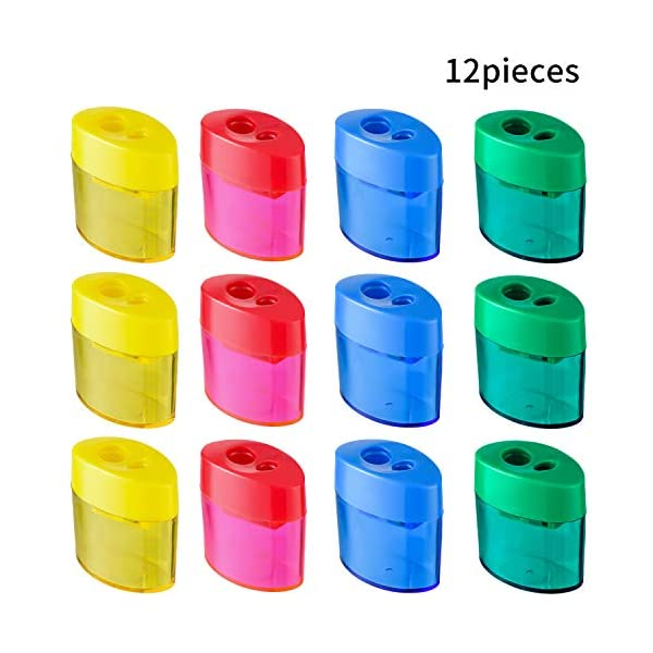 Gejoy Dual Hole Pencil Sharpener Manual Pencil Sharpeners with Lid for School Home Office Using(12 Pieces)