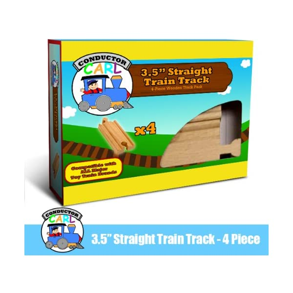 Compatible with All Major Toy Train Brands by Conductor Carl 4-piece 6 Curved Wooden Train Track Value Booster Pack