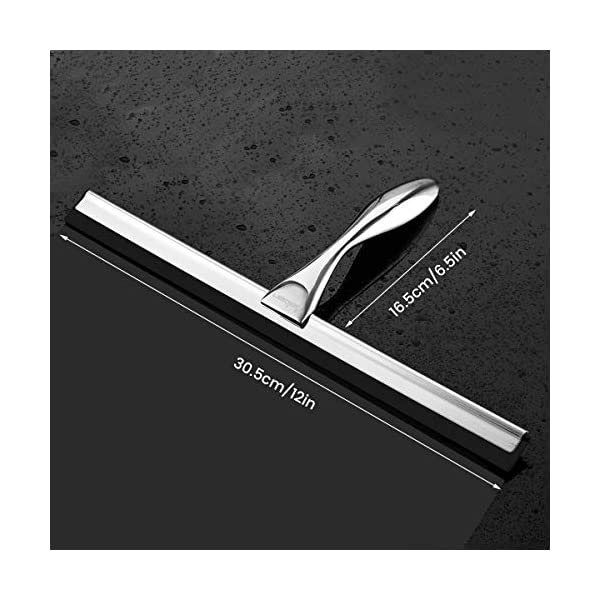 K Kwokker 12 Squeegee for Shower Door Glass Marble Fiberglass for Home Bathroon Kitchen Car Window Body Chrome Plated Streak Free Tile Desk Scraper with Soft Rubber Water Blade/&Suction Cup/&Hooks
