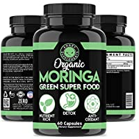 Organic Moringa, Nature's Green Super Food Supplement, 100% Pure Leaf Powder, All-Natural Nutrient Rich Antioxidant, Body Detox and Digestive Health Aid (1-Bottle)