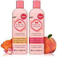 HASK ROSE OIL + PEACH Shampoo and Conditioner Set Color Protecting for all hair types, color safe, gluten-free, sulfate-free, paraben-free Allure Best of Beauty Award Winner- 1 Shampoo + 1 Conditioner