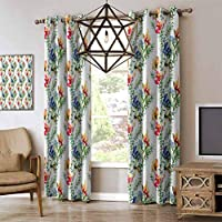 RenteriaDecor Flower Vintage Curtain, Shabby Chic Design Mimosas Daisies Flowers Leaves Buds Lilacs Work of Art Print Grommet Light Blocking Curtain,Kids Curtains Multicolor W84 x L96 Inch