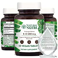 Natural Nutra Vegan Vitamin B12 1000 mcg, Cobalamin B 12 Supplement, Time Released with Calcium for Optimal Absorption, Energy and Brain Health, Non GMO, Gluten Free, Sugar Free, 60 Tablets