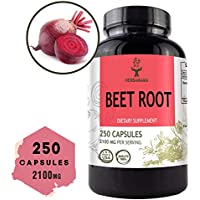 Beet Root 250 Capsules 2100 mg per Serving | Filled with Beet Root Powder | Energy, Stamina, Performance | Anti-Inflammatory | Digestive Function | Immune Booster | Blood Pressure Support | Non-GMO