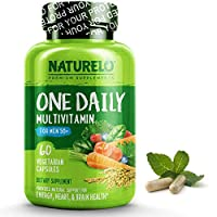 NATURELO One Daily Multivitamin for Men 50+ - with Whole Food Vitamins - Organic Extracts - Natural Supplement - Best for Energy, General Health - Non-GMO - 60 Capsules   2 Month Supply