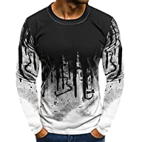VEKDONE Men's Gradient Slim Fit T-Shirt Casual Long-Sleeve Bodybuilding Muscle Fitness Tee Tops