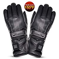 Alritz Leather Heated Gloves for Women, 7.4V 2600mAh Rechargeable Battery Heated Gloves, Full Touch Screen, Water-Resistant Genuine Leather Gloves for Outdoor Sports Hiking Skiing Motorcycle, Large