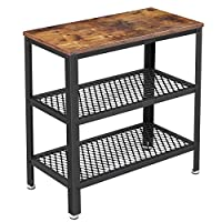VASAGLE BRYCE Side Table, End Table, Decorative Table with 2 Mesh Shelves, Hallway, Living Room, Bedroom, Office, Narrow, Stable, Space Saving, Easy Assembly, Industrial Design, Rustic Brown ULET33BX