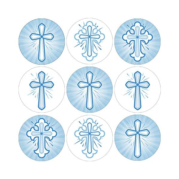 500-Count Gold Foil Cross Stickers Religious Stickers 1.5 Inches in Diameter Party Favors Cross Design Round Labels with Gold Foil Finish Envelope Seals