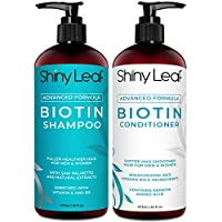 Biotin Shampoo and Conditioner For Hair Growth With DHT Blockers, Hair Loss Treatment For Men and Women, For Thicker and Fuller Hair, Paraben Free, Sulfate Free, 16 oz. (473 ml) Bottles