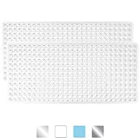 GORILLA GRIP Original Patented Bath, Shower, Tub Mat, 35x16, Machine Washable, Antibacterial, BPA, Latex, Phthalate Free, Bathtub Mats with Drain Holes and Suction Cups, Bathroom Mat, Pack of 2, Clear