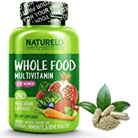 NATURELO Whole Food Multivitamin for Women - Natural Vitamins, Minerals, Raw Organic Extracts - Best Supplement for Energy and Heart Health - Non GMO - 240 Vegan Capsules