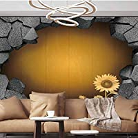 Wall Paper Decorations 3D trap Antique Old Planks American Style Western Rustic Wood sunflower flower grass Removable Large Sticker,154