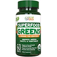 Organic Super Greens Fruit & Vegetable Tablets by Feel Great 365 – Superfood Green Juice Powder Supplement – Increase Energy, Improve Wellness, Alkalize The Body Halal Certified