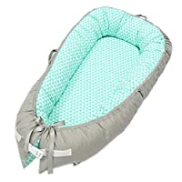 Abreeze Baby Bassinet for Bed -Geometry Design Baby Lounger - Breathable & Hypoallergenic Co-Sleeping Baby Bed - 100% Cotton Portable Crib for Bedroom/Travel