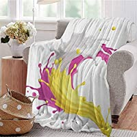 Luoiaax Colorful Luxury Special Grade Blanket Mixed Fruit Drink Splash Photo Strawberry Banana Milk Sweet Fountain Multi-Purpose use for Sofas etc. W70 x L70 Inch Pink Yellow and White