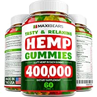 MAXIBEARS Hemp Gummies 400,000 - Promotes Relaxation & Healthy Sleep - Stress, Insomnia & Anxiety Relief - Made in USA - Tasty Herbal Gummies - Premium Extract - Mood & Immune Support