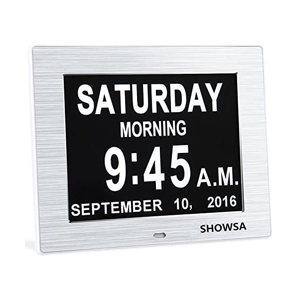 White Hurrah Extra-Large Memory Loss Digital Calendar Day Clock with Non-Abbreviated Day