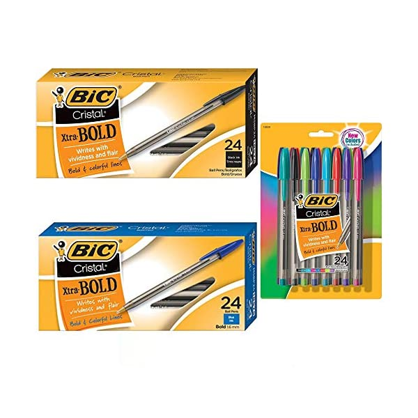 Black MSBP241-BKx2 1.6 mm Ball Pen Pack of 48 Bic Cristal Bold