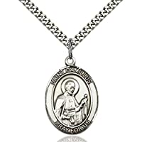 Bonyak Jewelry 18 Inch Rhodium Plated Necklace w// 6mm Blue March Birth Month Stone Beads and Saint Mary Magdalene of Canossa Charm