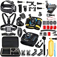 Navitech 60-in-1 Action Camera Accessories Combo Kit with EVA Case Compatible with The Yuntab Sports Action Camera