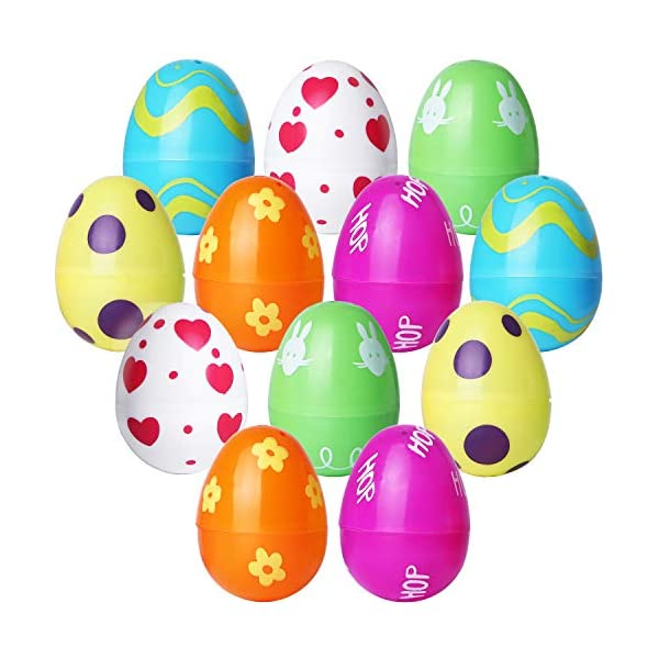 2.36 Inches Bright Colorful Eggs Prefilled with Dinosaur for Easter Theme Party Favor Tinabless Toys Filled Easter Eggs Easter Basket Easter Eggs Hunt Event 12 Packs Classroom Rewards