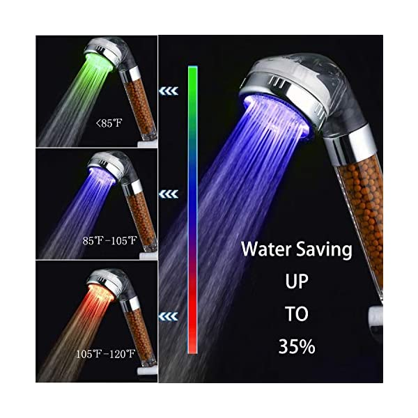 Color Changes with Water Temperature PRUGNA LED Shower Head with Hose and Wall Arm Mount High-Pressure Ionic Filter Handheld Shower for Repair Dry Skin and Hair Loss