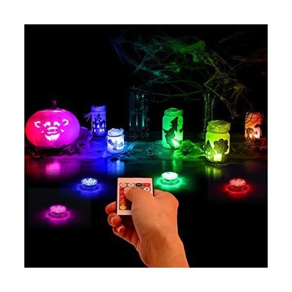 Wedding Vase Base etc.4 Pack Honfeng Submersible LED Lights,Waterproof Underwater Remote Controlled Battery Operated Wireless Multicolor Submersible Led Lights Holloween Pond Party