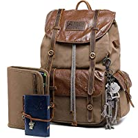 Unisex Jimei Leather Factory Kemys Mens Canvas Toiletry Bag Travel Bathroom Shaving Dopp Kit with Double Compartments