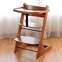 High Chair for Babies and Toddlers Booster Seat for Dining Table Adjustable Baby Seats for Sitting Up Wood Stool for Study Desk (Color : Brown)
