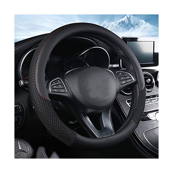 ZHOL Universal 15 inch Steering Wheel Cover Microfiber Leather and Viscose Black Anti-Slip Warm in Winter and Cool in Summer Breathable Odorless