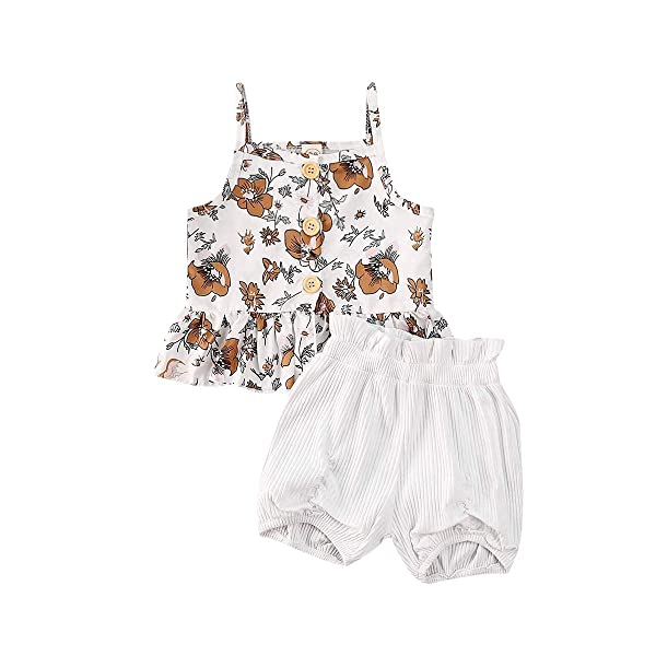 MetCuento Toddler Baby Girls Floral Ruffle Dress Short Pants Summer Clothes Set