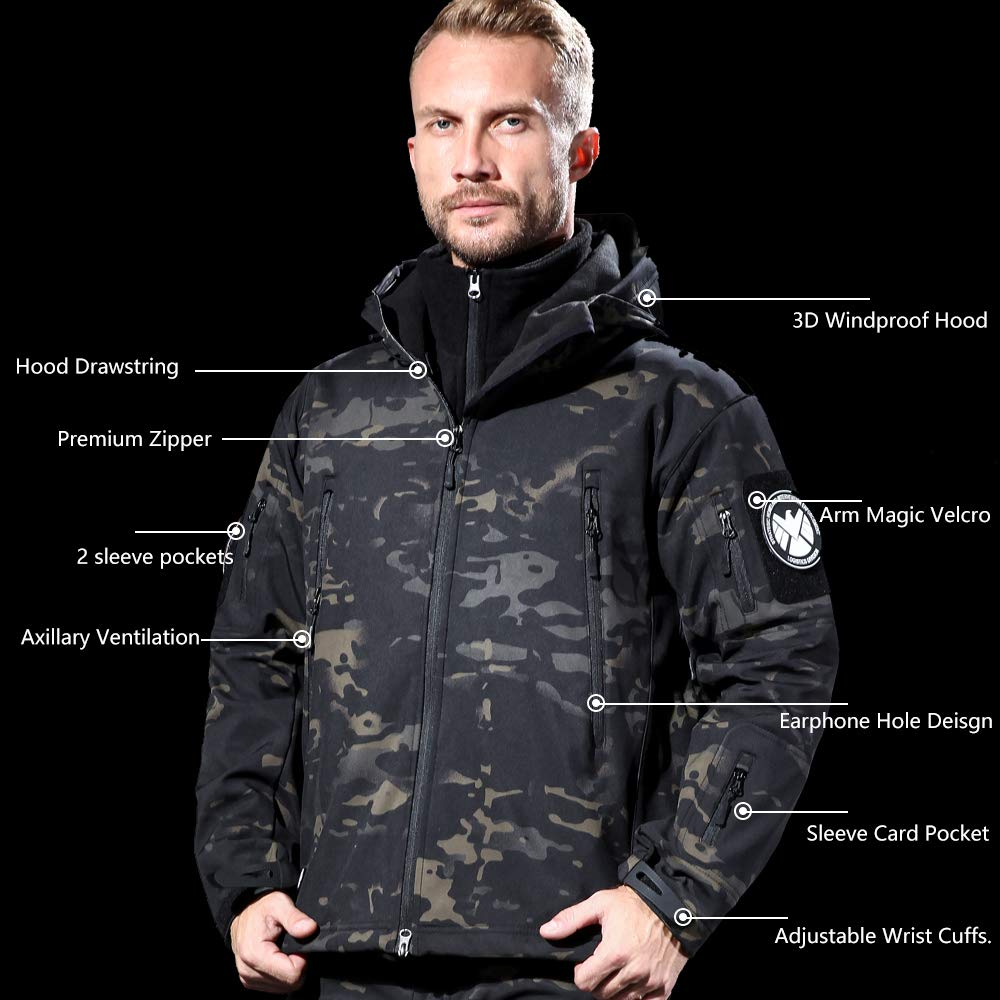 FREE SOLDIER Mens Outdoor Waterproof Soft Shell Hooded Military Tactical Jacket ACU Camouflage XX-Large